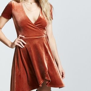 Velvet Surplice Wrap Dress